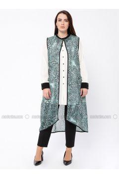 Ecru - Mint - Multi - Point Collar - Unlined - Plus Size Evening Suit - Tuana(110337060)