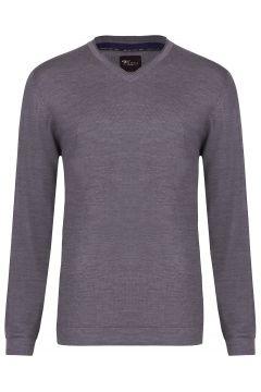 Venti - Pullover - Slim - V-Ausschnitt - Merino - grau(107866199)