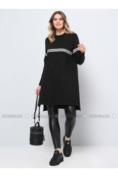 Black - Stripe - Crew neck - Cotton - Plus Size Tunic - Alia(110316789)