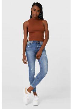 Stradivarius Skinny jeans met lage taille DAMES Lichtjeans 32(116580117)