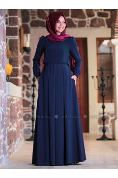 Navy Blue - Point Collar - Fully Lined - Dresses - An-Nahar(110317067)