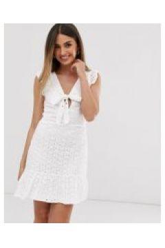 Parisian - Minikleid mit Schnürung vorne und Lochstickerei - Weiß(93838622)