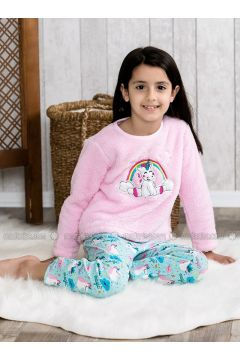 Pink - Crew neck - Multi - Kids Pijamas - Lingabooms(110313099)
