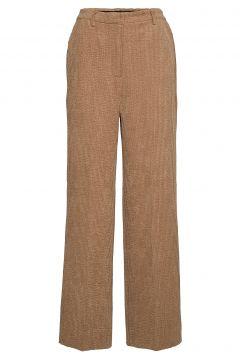 Gaia Mw Trousers Hosen Mit Weitem Bein Braun SECOND FEMALE(108942408)