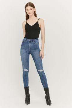 High Waist Destroyed Skinny Jeans(110899391)