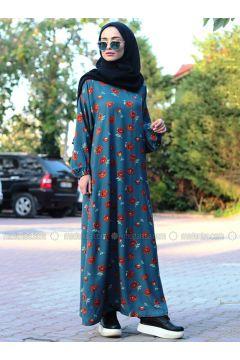 Petrol - Multi - Crew neck - Unlined - Dresses - Melek Aydın(110315475)