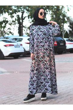 Lilac - Multi - Crew neck - Unlined - Dresses - Melek Aydın(110315479)
