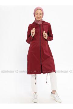 Plum - Unlined - Crew neck - Cotton - Trench Coat - Beha Tesettür(110315318)