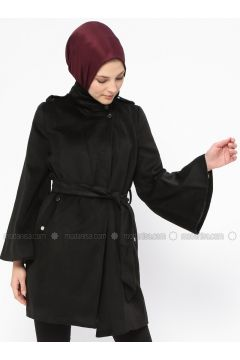 Black - Fully Lined - Polo neck - Coat - Mileny(110314028)