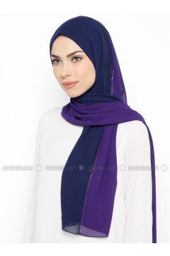 Purple - Plain - Shawl - GINA LOREN(110335054)