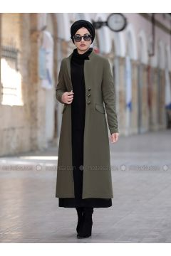 Khaki - Fully Lined - Shawl Collar - Jacket - Piennar(110333289)