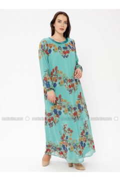 Green - Multi - Crew neck - Fully Lined - Dresses - Le Mirage(110338931)
