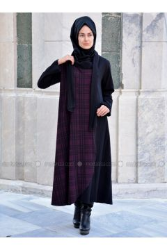 Black - Maroon - Multi - Unlined - Wool Blend - Acrylic - Abaya - Henna Elısa(110320044)