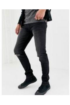 D-Struct - Enge Jeans in verwaschenem Schwarz mit Knierissen - Schwarz(83099933)