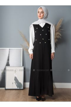 Black - V neck Collar - Unlined - Crepe - Dresses - Liolle(110336251)