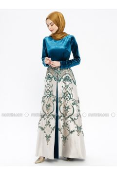 Petrol - Multi - Fully Lined - Crew neck - Muslim Evening Dress - Robir(110320681)