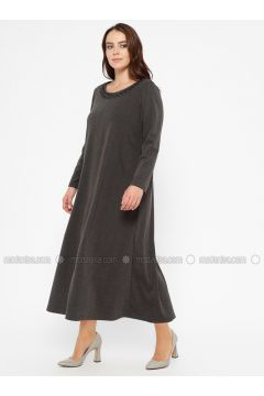 Black - Gray - Anthracite - Unlined - Crew neck - Plus Size Dress - CARİNA(110320240)