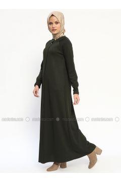 Khaki - Unlined - Button Collar - Abaya - Nihan(110313256)