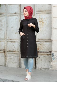 Black - Point Collar - Tunic - Puqqa(110332932)