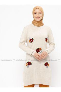 Cream - Floral - Crew neck - Acrylic -- Tunic - Veteks Line(110314098)