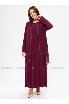Plum - Unlined - Crew neck - Muslim Plus Size Evening Dress - Havva Ana(110329978)