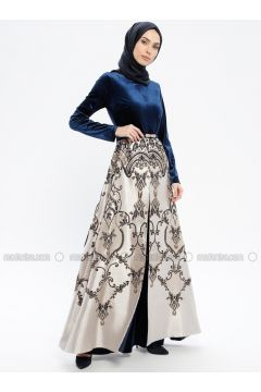Navy Blue - Multi - Fully Lined - Crew neck - Muslim Evening Dress - Robir(110320683)