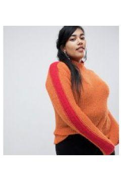 Glamorous Curve - Locker geschnittener Pullover mit Farbblockdesign an den Ärmeln - Orange(86685476)