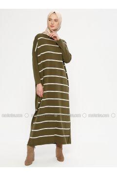 Khaki - Stripe - Crew neck - Unlined - Acrylic -- Dresses - NOVİNZA(110332526)