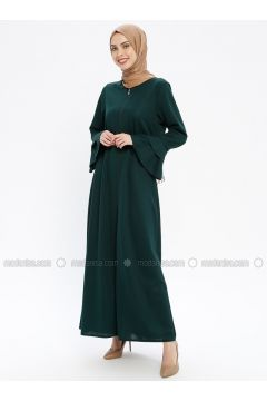 Green - Unlined - Crew neck - Abaya - ECESUN(110337597)
