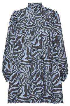 Printed Cotton Poplin Kurzes Kleid Blau GANNI(98321409)