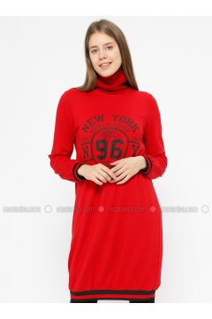 Crew neck - Red - Sweat-shirt - İkoll(110319975)