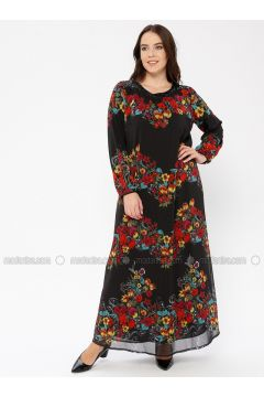 Black - Multi - Crew neck - Fully Lined - Dresses - Le Mirage(110338930)