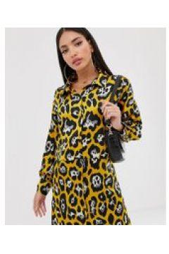 Missguided Tall - Hemdkleid mit gelbem Leopardenmuster - Gelb(92419668)