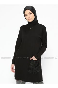 Black - Polo neck - Tunic - NZL(110316631)