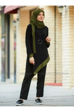 Black - Khaki - Crew neck - Tunic - An-Nahar(110330037)
