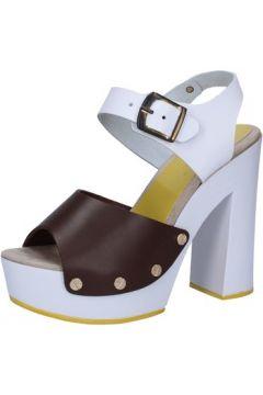 Sandales Suky Brand sandales marron cuir blanc AB299(88470043)