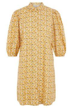 PIECES Imprimée Robe Mi-longue Women yellow(114173873)