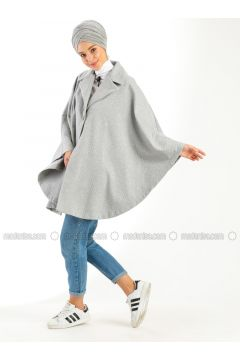 Gray - Shawl Collar - Unlined - Poncho - Meys(110317302)