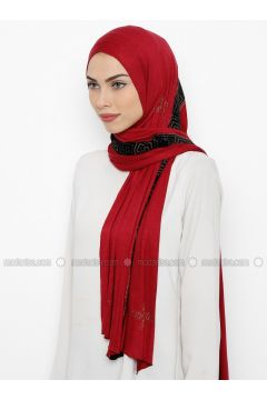 Red - Plain - Litho - Combed Cotton - Shawl - İPARHAN DUBAI(110314491)