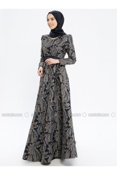 Navy Blue - Multi - Fully Lined - Crew neck - Muslim Evening Dress - MissGlamour(110320690)