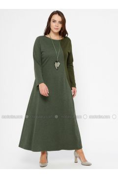 Khaki - Unlined - Crew neck - Plus Size Dress - CARİNA(110320122)