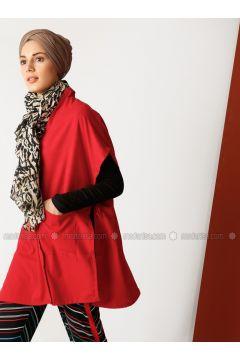 Red - V neck Collar - Unlined - Cotton - Poncho - Meryem Acar(110327073)