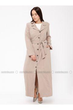 Beige - Unlined - Shawl Collar - Plus Size Coat - Tekbir(110335655)