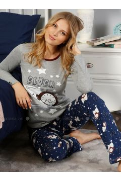 Gray - Crew neck - Multi - Pyjama - Elitol(110328427)