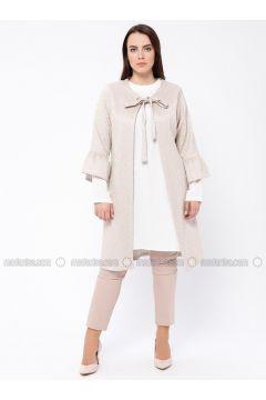 Ecru - Powder - Crew neck - Unlined - Plus Size Evening Suit - Tuana(110337121)