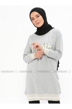 Cotton - Crew neck - Gray - Sweat-shirt - İLMEK TRİKO(110321771)