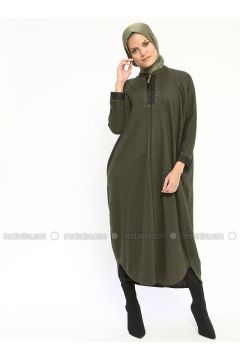 Khaki - Unlined - Crew neck - Wool Blend - Abaya - Nihan(110313259)