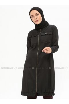 Black - Unlined - Polo neck - Cotton - Trench Coat - Beha Tesettür(110319636)