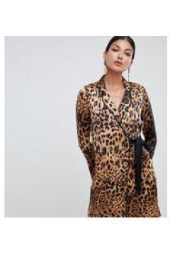 Missguided Tall - Smokingkleid mit Leopardenmuster und seitlichen Bindebändern aus Satin - Mehrfarbig(86691174)