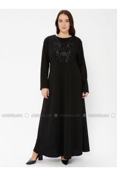 Black - Unlined - Crew neck - Plus Size Dress - EFE FERACE(110337650)